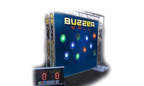 Buzzerwand, Buzzerspiel, leuchtende Buzzer, leuchtende Spots, Schnelligkeit, Wettkampf,