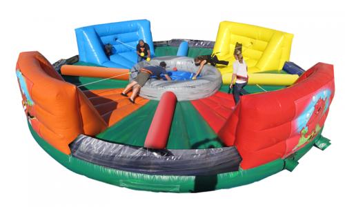 Hippo Flipp, Teamspiel, Wettkampf, Challenge, Bälle, Seile, Aufblasbar
