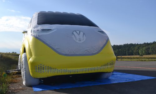 Volkswagen, aufblasbare Bus, Hüpfbus, Elektrobus,