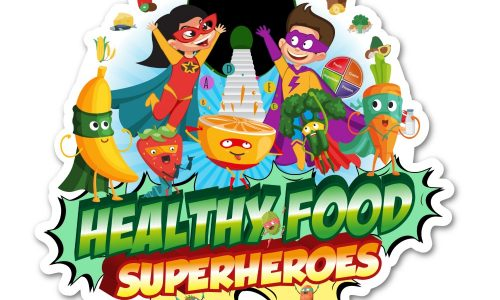 Healthy food superheros logo